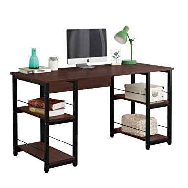 Soges Home Office Desk 55 inches Computer Desk, Morden Style with Open Shelves Worksation, Walnut DZ012-140-WA