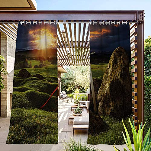 FOEYESEE Long Outdoor Curtains for Patio Arthur Camelot Legend Myth in England Ireland Fields Invincible Myth Image Green Blue and Red Great for Cabana/Covered Patio/Gazebo 55x63 Inch