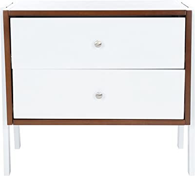 SAFAVIEH Home Collection Winchester Bedroom-Living-Room Accent Side Table Storage Nightstand NST1400B, Walnut/White