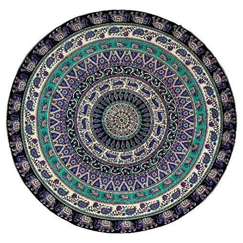 """Handmade Hippie Bohemian Mandala Round Wall Hanging Bedding Tapestry Tie Dye Multi Color Bed Sheet Multi color Beach Blanket Bed Cover-76""""-BS-031"""