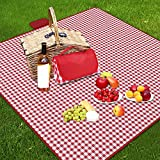 Ruisita Large Picnic Blankets 79 x 79 Inches Waterproof Blanket Portable Picnic Supplies for Outdoor Family Outdoor Camping Parties (Red and White)