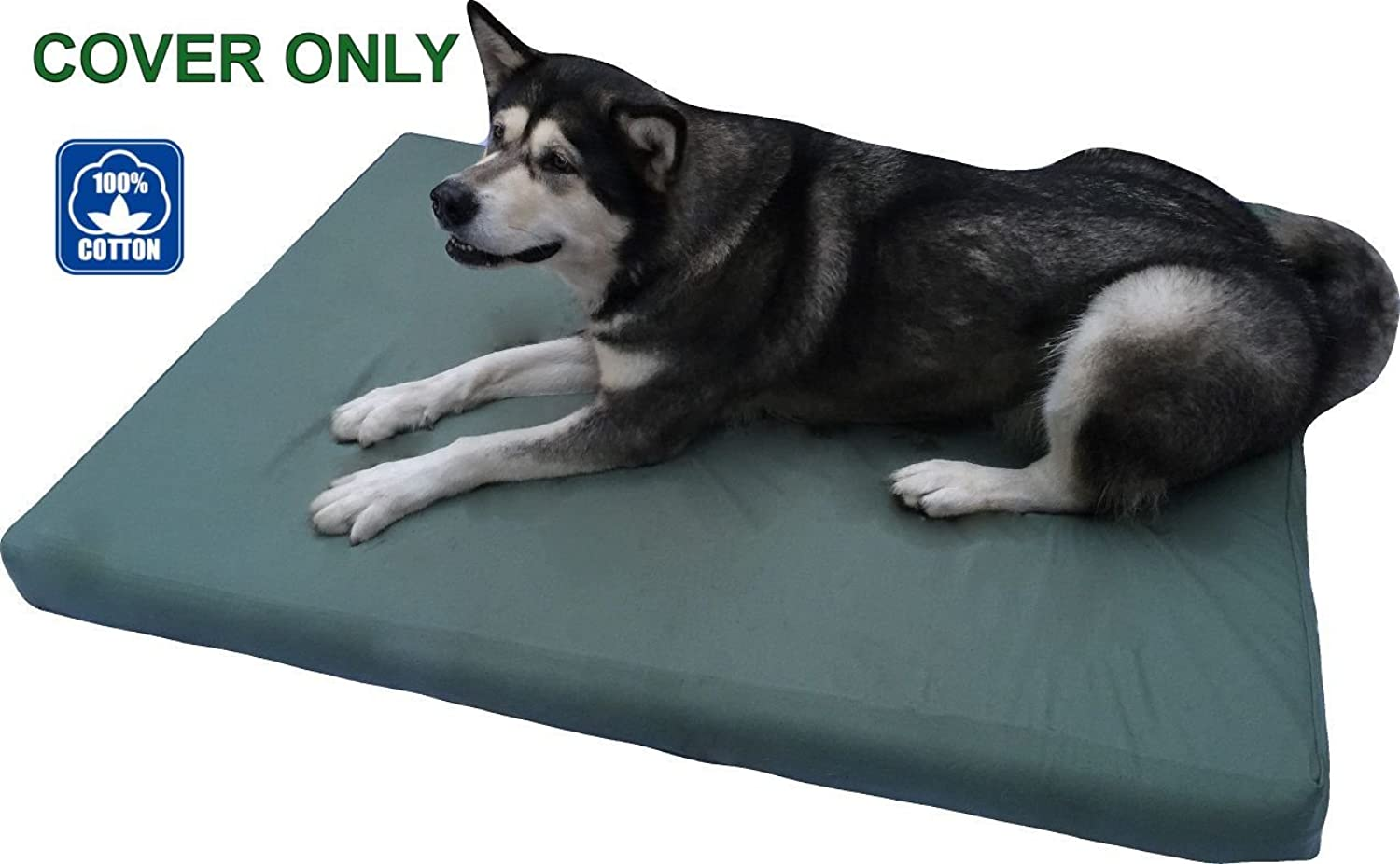 PetBed4Less Heavy Duty Green Canvas Pet Bed Dog Bed Zipper Cover Small, Medium to Super Large  8 Sizes  Replacement Zipper Cover only