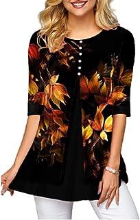 Camisa con Estampado de Hojas Camisa de Blusa de Media Manga para Mujer Camisetas Casuales Camisas Negras con Cuello en O Tops de Talla Grande para Mujer