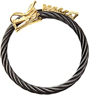 Amrita Singh Khaleesi Dragon Moon Gold Tone Black Stainless Steel Cuff Bangle Bracelet