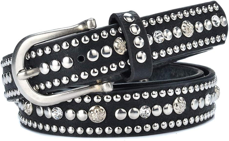 Women's Leather Belt Alloy Pin Buckle Metal Studs Inlaid Vintage Belt Belt for Pants Jeans Dresses.