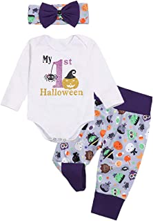 Halloween Newborn Baby Girl Outfits My First Halloween Pumpkin Long Sleeve Top + Cute Pants + Headband Clothes Set