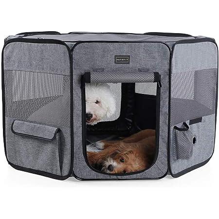 petsfit 折りたたみサークル 八角形 プレイサークル 犬 猫 兼用 猫の分娩室 メッシュ 屋根付き 屋内 屋外 収納バッグ付き M/L ピンク/ブラウン/ブルー/グレー 選択可能
