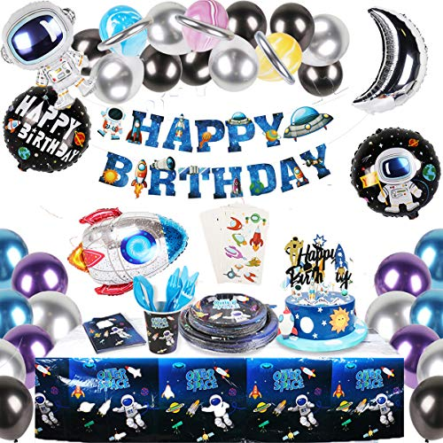 JSN PARTY Space Birthday Party Supplies for Boy, Outer Space Theme Party Decorations with Happy Birthday Banner, Tattoo, Space Theme Balloons, Cake Topper, Plates, Napkins, and More for 16 Guest
