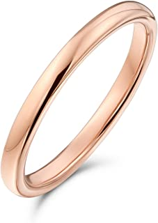 Thin Minimalist Dome Couples Titanium Wedding Band Polished Rose Gold Silver Plated Ring for Men Women Comfort Fit 2MM