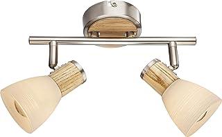Lámpara de techo con 2 focos, lámpara de techo para salón, de madera, aplicación de focos móviles (luz de techo, lámpara de salón, lámpara de pasillo)