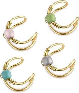 أقراط الأذن غير قابلة للتعديل للنساء، مجموعة مجوهرات الأذن الخرزة المصنوعة يدويًا، مشبك على الغضروف وهيليكس لف الأذن