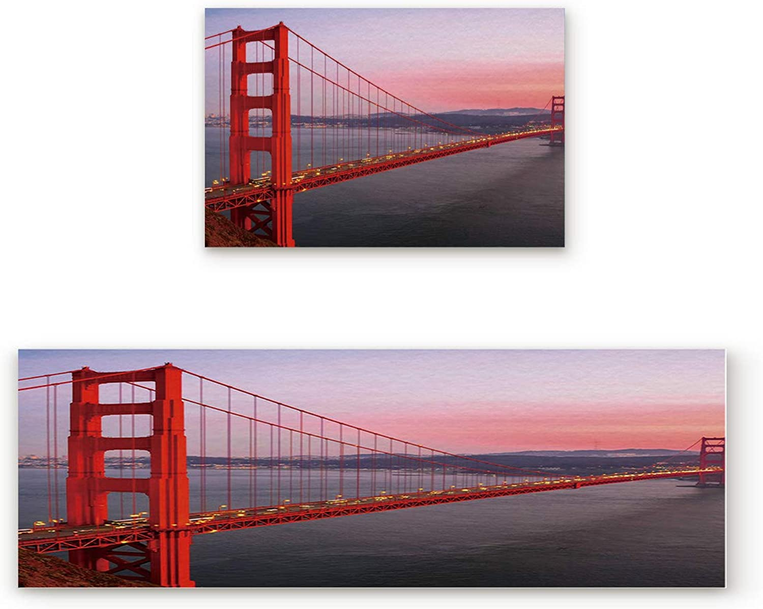 KAROLA 2 Piece Non-Slip Kitchen Mat Doormat Runner Rug Set Thin Low Pile Indoor Area Rugs USA City View golden Gate Bridge Traveling Destination 19.7 x31.5 +19.7 x63