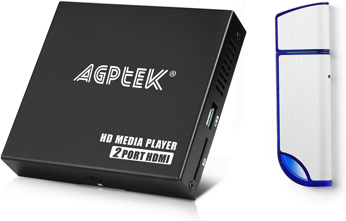 1080P Media Player with Dual HDMI Outpus and 32GB USB Drive, Portable MP4 Player for Video/Photo/Music Support USB Drive/SD Cards/HDD - HDMI/AV/VGA Output