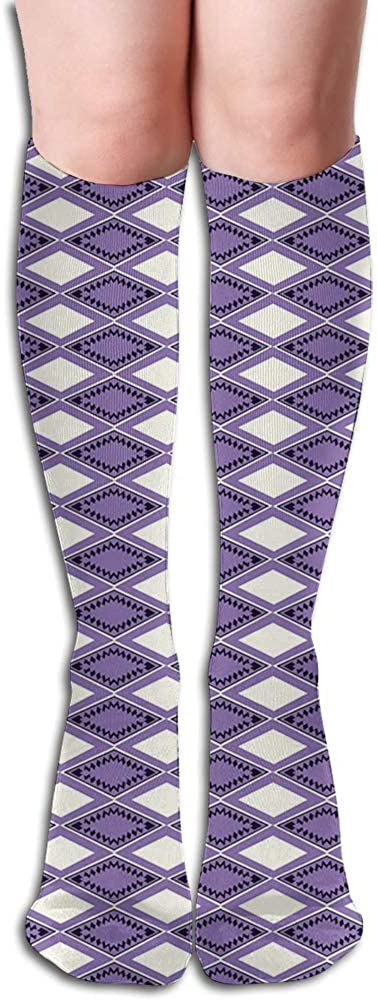 Men's and Women's Funny Casual Combed Cotton Socks,Geometric Shapes Rhombus Rectangles in Vivid Color Scheme with Zigzags
