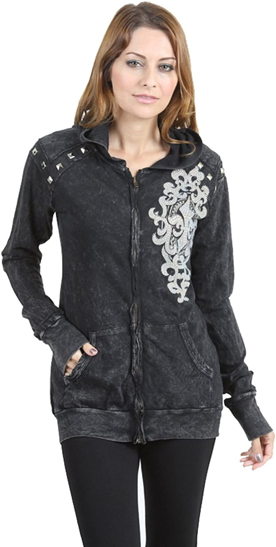 Vivian's Fashions Top  Hoodie, Fleur de Lis Print with Stud Details