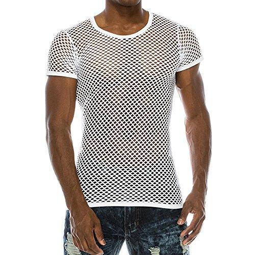 SUCES Männer Netz Shirt, Herren Sommer Tee Casual Muscle Unterhemden mit Ärmelloser Mesh fit Underwear Shirt Sport Top Mode Hemd Tankshirt Muskelshirt