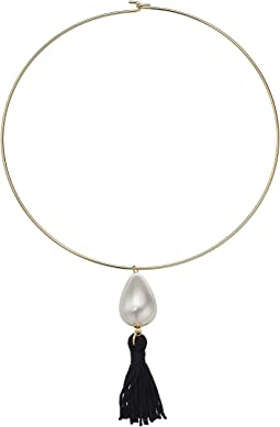 Gold Choker w/ White Pearl And Black Tassel Necklace