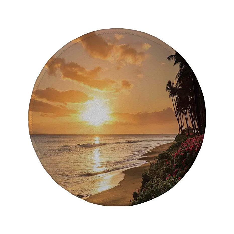 Non-Slip Rubber Round Mouse Pad,Hawaiian Decorations,Warm Tropical Sunset on Sands of Kaanapali Beach in Maui Hawaii Destination for Travel Decorative,7.87