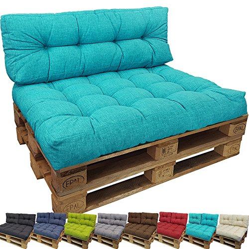 Set Cuscini Lounge II per divano in palet de proheim - Set 1 Cuscini seduta + 1 Cuscini schienale lungo resistente all' acqua, allo sporco in nero