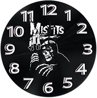 Wall Clock Silent Non Ticking Round Wall Clocks, Misfits Clocks 10 Inch Battery Operated Quartz Analog Quiet Desk Clock for Home, Office, School