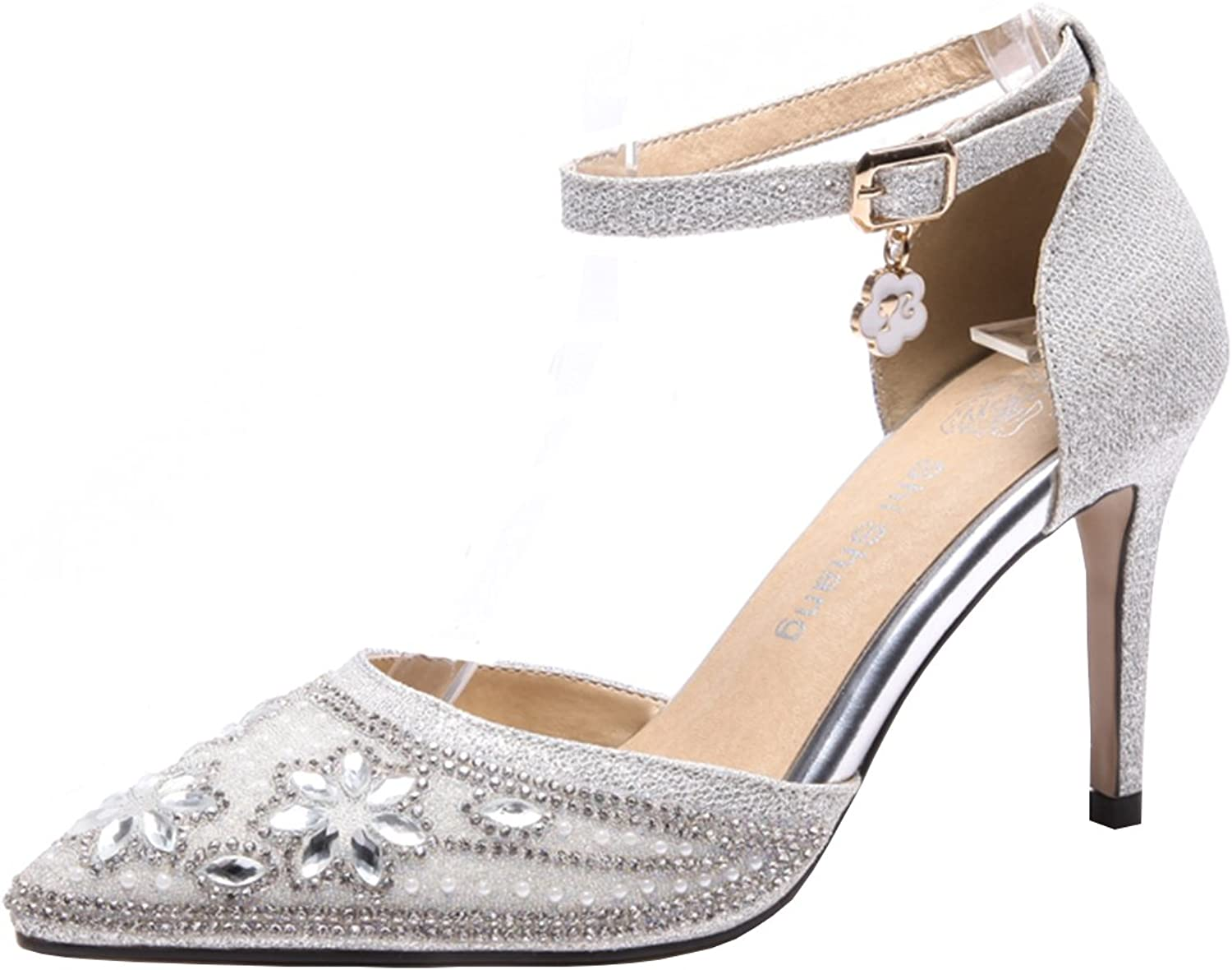 Artfaerie Women's High Heels Ankle Strap Pumps Wedding Bridal Glitter Court shoes with Rhinestones