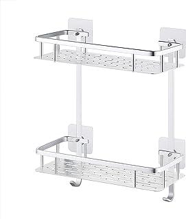 Amazon Brand - Umi Estantes para Ducha Entramado de baño Aluminio Espacial Perforado Gancho para Colgar Organizador de Duc...