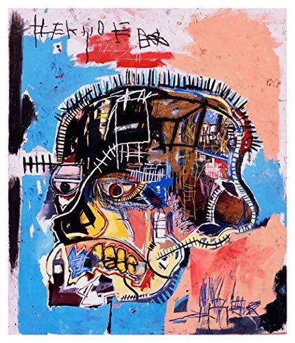 JH Lacrocon Scull 1981 de Jean-Michel Basquiat - 100X120 cm Peintures Art Graffiti à Main Tableau Reproduction sur Toile Roulée Décoration Murale pour Salon