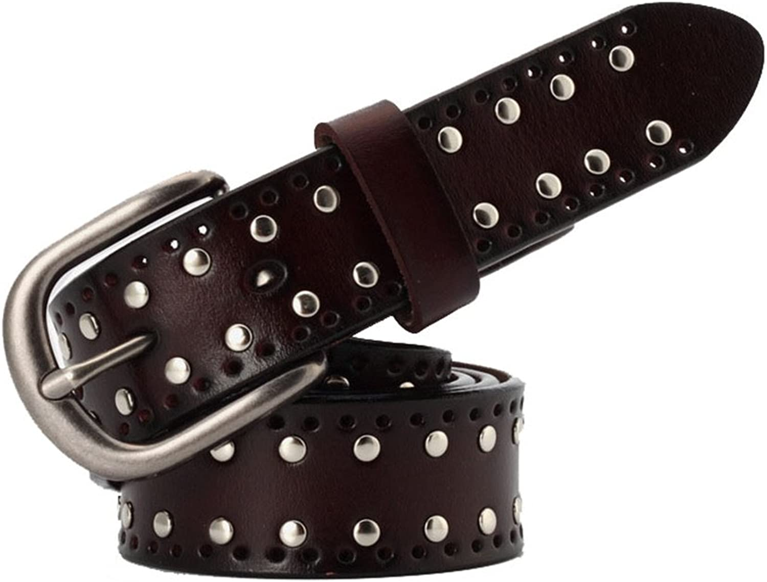 Women's Belt Leather Simple Pure Leather Lady's BeltPersonality Rivets for Trousers Jeans Pants Dress