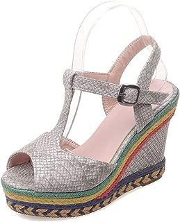 Surprise S Wedges Sandals Women Platform Shoes Colorful Edges High Heel Wedges Shoes T Strap Roman Summer Peep Toe