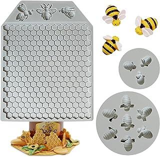 Auralto 3Pcs Honeycomb Bees Silicone Fondant Cake Mold Beehive Silicone Baking Molds, Silicone Cupcake Cake Decorating Fon...