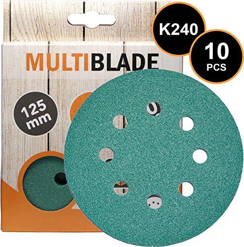 Multiblade Professioneller Klett Schleifscheiben 125mm, 10 Stück, Korn 240, 8 Löcher, für Holz und Metall, Profesioneller Qualität, für Exzenterschleifer, Rotationsschleifer