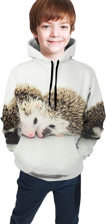 LINCHENC Boys Girls Hoodie, Lovely Hedgehog Unisex 3D Printing Teenager Sweatshirt Kids Children's Sweater for Age 7-20