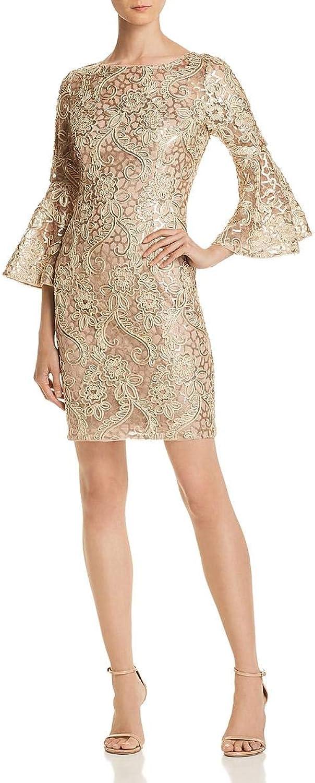Aidan Mattox Womens Bell Sleeves Sequined Cocktail Dress