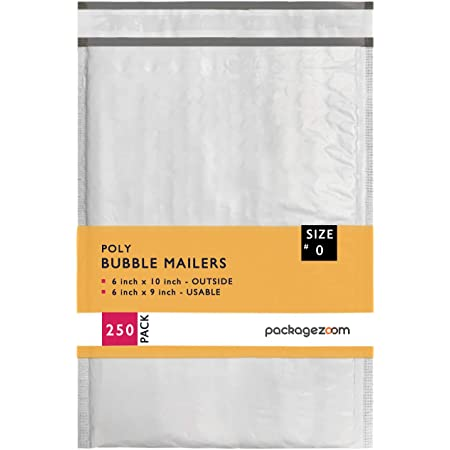 Pack of 250 Secure Seal #0 6x10 Poly Bubble Mailers Padded Shipping Envelope Mailers