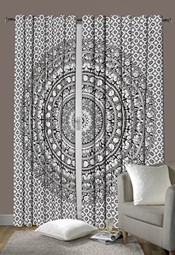 Indian Cotton Elephant Mandala Window Door Cover Curtain Hanging Drape Portiere