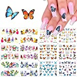 Butterfly Nail Art Decals Sticker Nail Butterfly Flower Design Stickers Holographic Butterfly Nail Art Manicure Transfer Tips Nail Art DIY Nail Art 1 Large Sheets (12 Pcs)