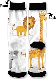 Leisue AnimalLion, Monkey, Giraffe, Elephant High Ankle Sock, Soft Cotton Breathable Polyester Crew Socks for Women Men