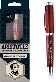 Aristotle Enlightened Quote Pen - Knowing Yourself is the Beginning of All Wisdom - Gifts for Philosophers Philosophy History Students Professors Intellectuals