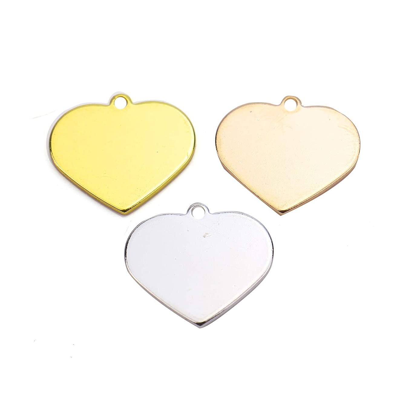 Monrocco 15 PCS Brass Heart Shaped Blank Stamping Tags,Jewelry Tools Stamping Supplies