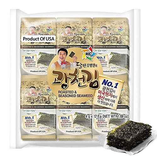 KIMNORI Kwangcheonkim Seasoned Seaweed Snacks – 24 Individual Packs Sheets Premium Natural Roasted Laver Nori 4g 0.14 Ounce 김 のり 海苔 紫菜
