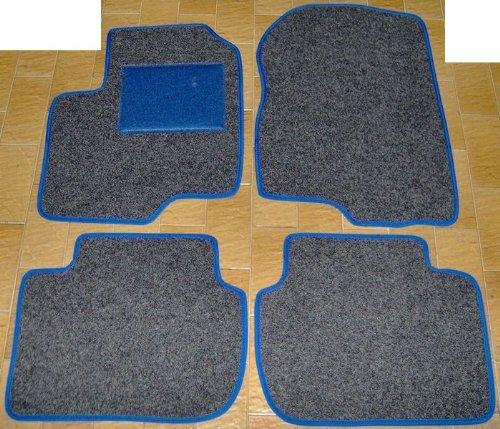 Lot complet de tapis de voiture en moquette sur mesure anthracite avec bord bleu électrique