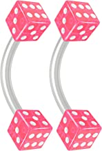 Bling Piercing 2pc 16g Flexible Bioflex Curved Barbell 3mm Dice End Bioplast J-Curve Bent Banana Bar