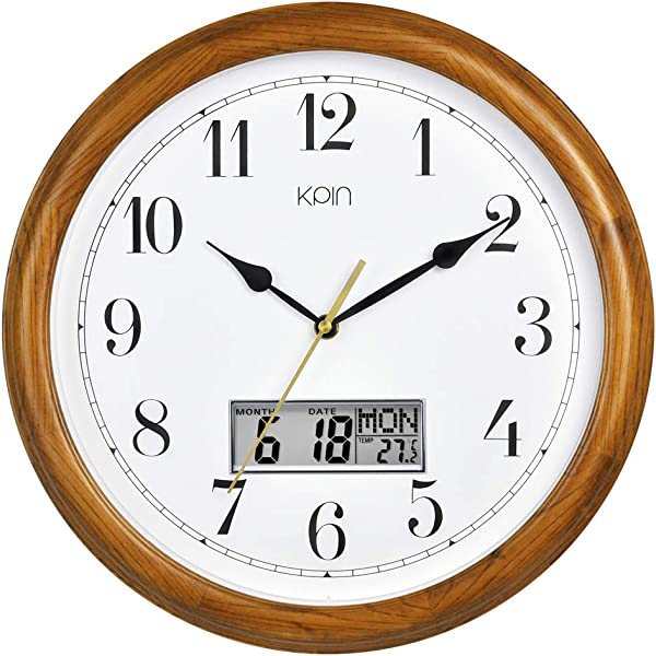 Kpin 14 Inch Silent Quartz Decorative Real Wood Wall Clock Modern Style Good For Living Room Home Office Cherry Wood 14 Inch LCD