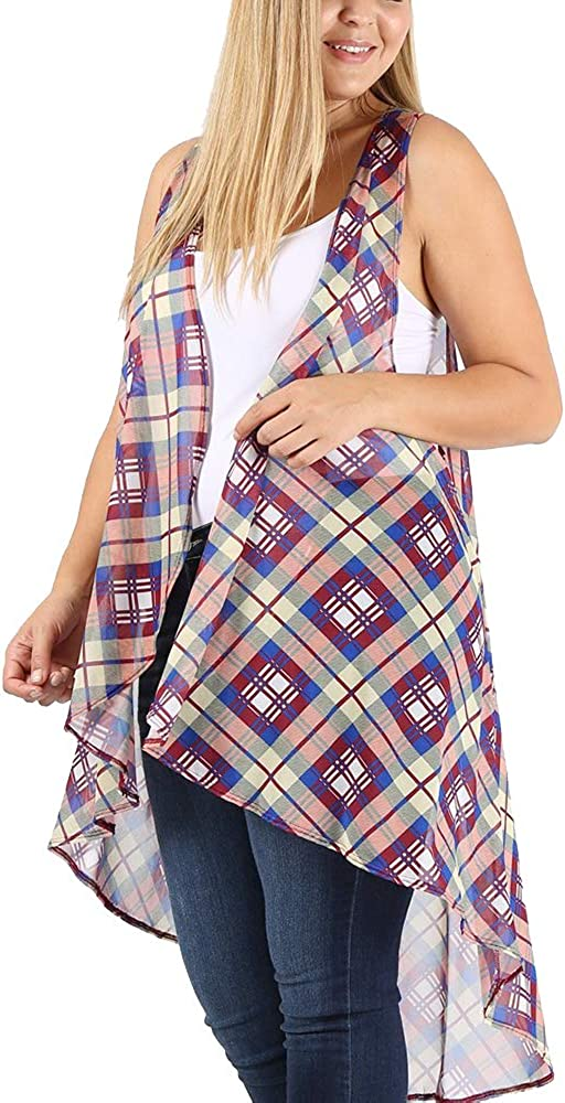 LoveCurvy (CD101 PRT) Plus Size Women's Sleeveless Multi Print Open Hi-Lo Flowy Cardigan