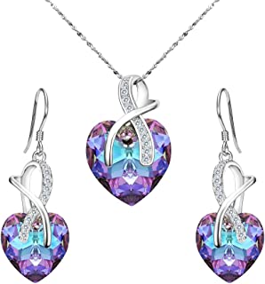 Clearine Women 925 Sterling Silver Bridal CZ Infinity Love Heart of Ocean Adorned with Swarovski® Crystals Pendant Necklace Earrings Set