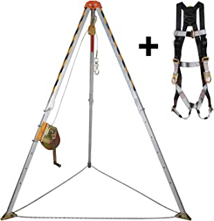 KSEIBI 423990 🏆 Aluminum Confined Space Tripod Kit Manhole Entry and Rescue Equipment Set with 65' Winch, Pulley, Carabiner, Fall Protection Safety Harness and Carrying Storage Bag