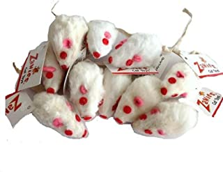 10 Realistic White Mice Cat Toys with Real Rabbit Fur by Zanies