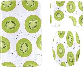 Sliced Kiwi Fruit Hand Drawn Bathroom Rug Mats Set 3-Piece,Soft Shower Bath Rugs,Contour Mat and Toilet Seat Lid Cover No...