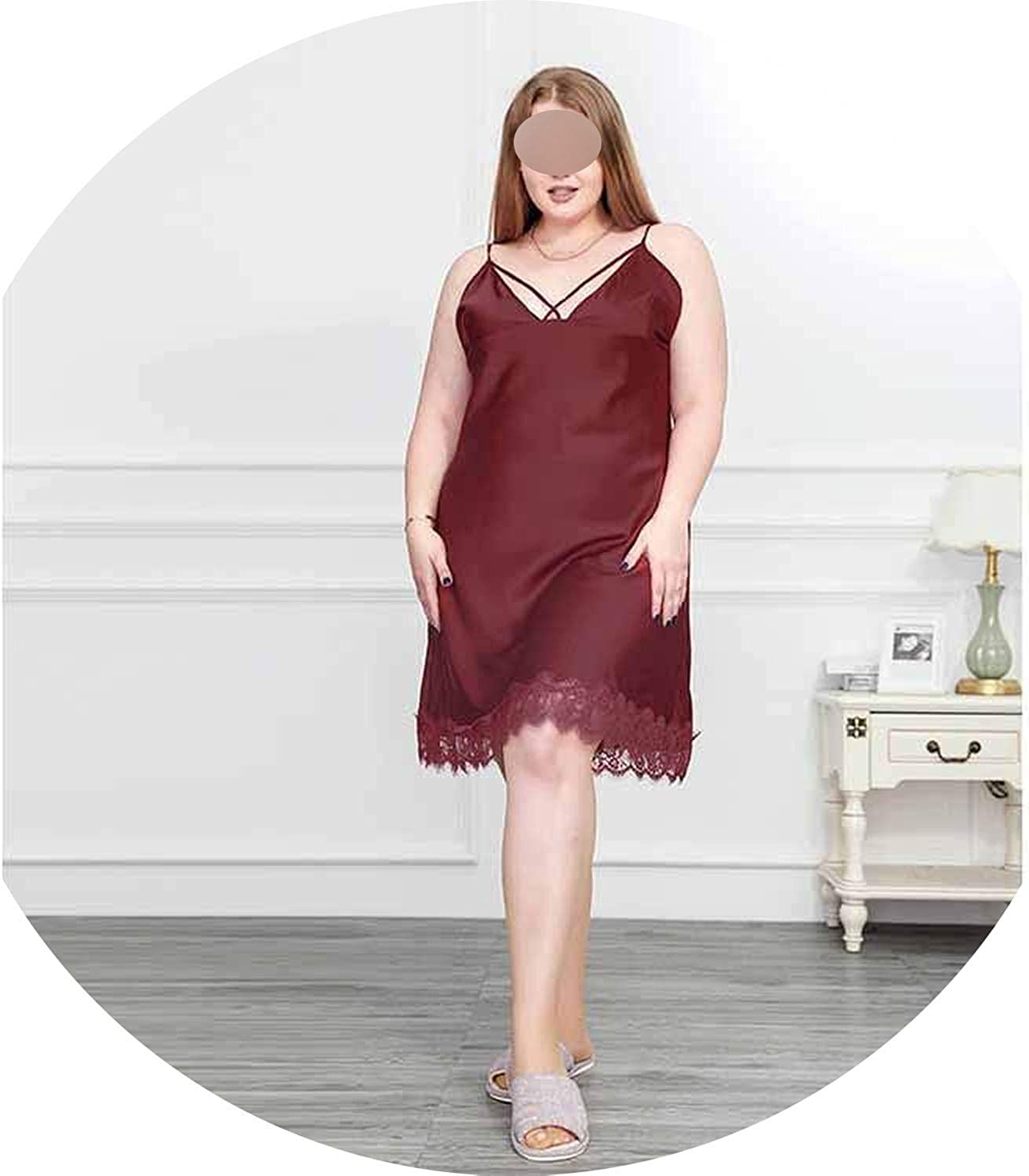 I'm good at you 2019 Sexy Lingerie Lace Sleepwear Summer Nightgown for 100KG Silk Nightwear Robe Dress Gown