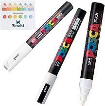 3 kinds of Uni Posca 【WHITE】 Paint Marker Pen Extra Fine 0.7mm/Fine Point 0.9-1.3mm/Medium Point 1.8-2.5mm & Our Shop Stic...